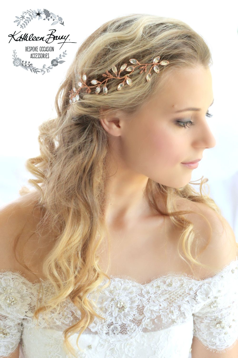copper rhinestone hair vine headpiece rose gold crystal k