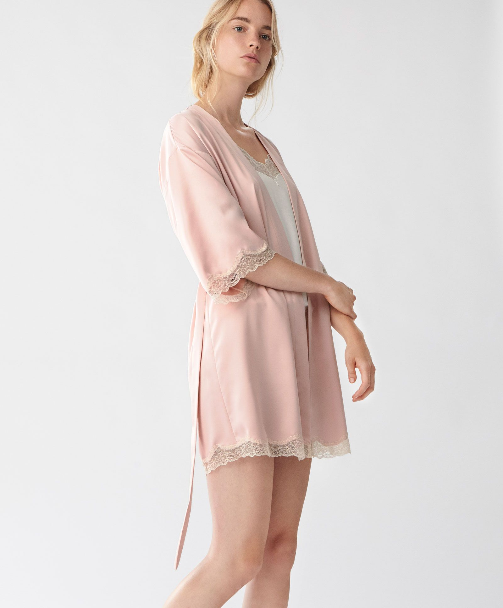 Glossy pink dressing gown with blonde lace - House Robe - Spring ...