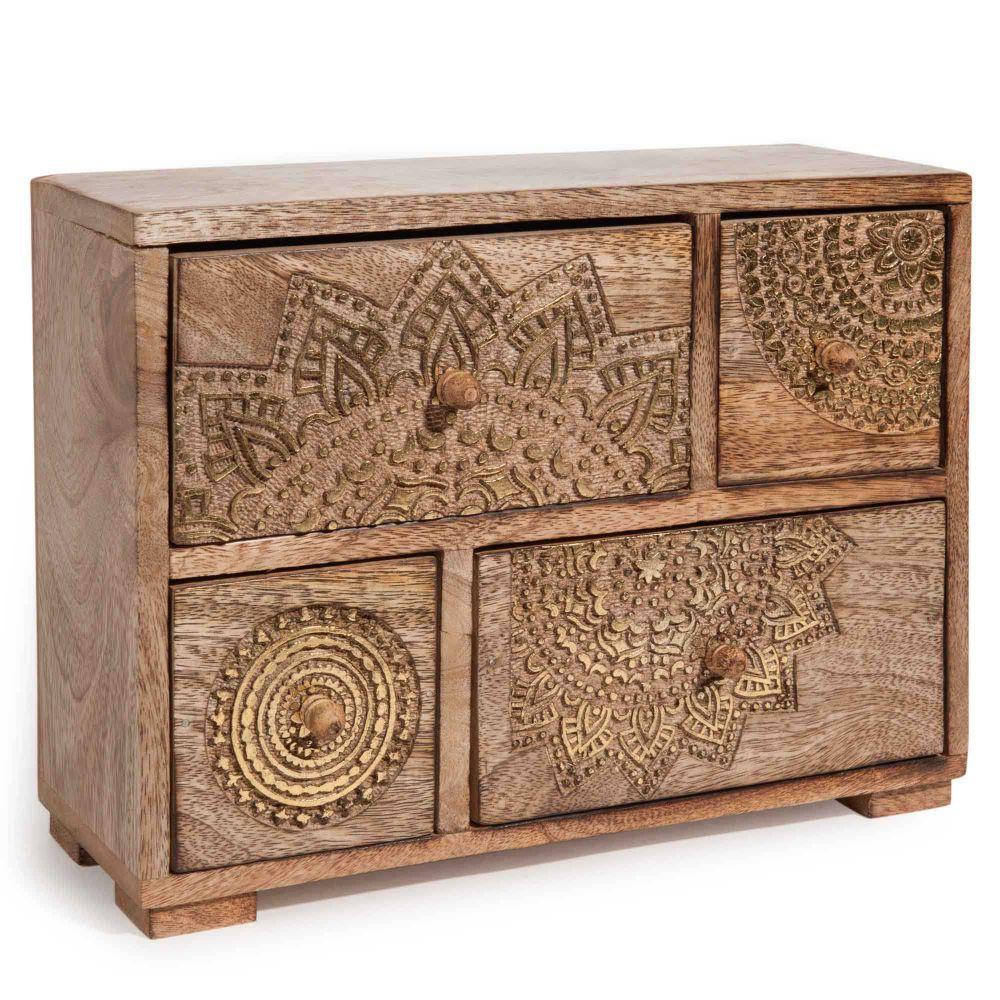 bo te 4 tiroirs en bois dor h 21 cm mandala maisons du. Black Bedroom Furniture Sets. Home Design Ideas