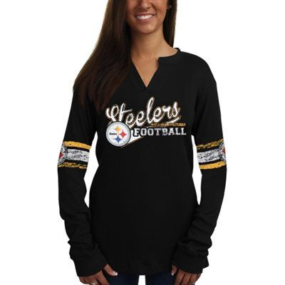 Pittsburgh Steelers Women s Plus Sizes Placket Thermal Long Sleeve V-Neck T- Shirt - Black 267a11afe