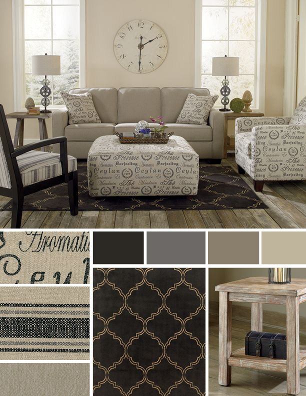 Nice mix of light fabrics and textures with a dark accented rug!