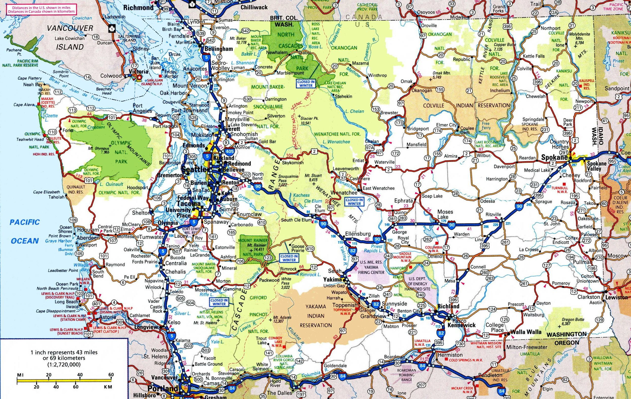 Washington State Road Map Maps Pinterest Map Us Map And
