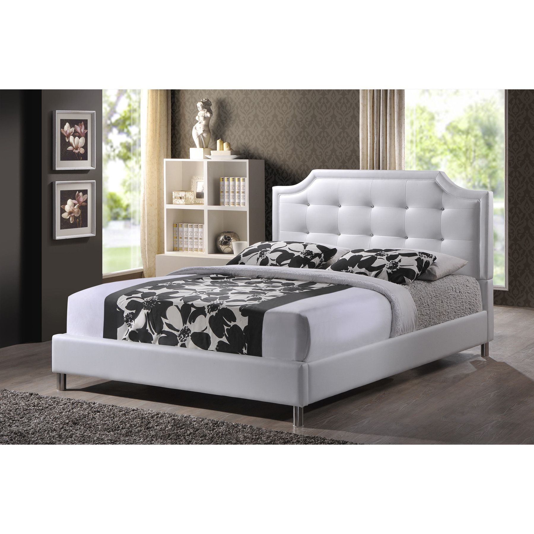 White Platform Bed Upholstered Tufted Contemporary