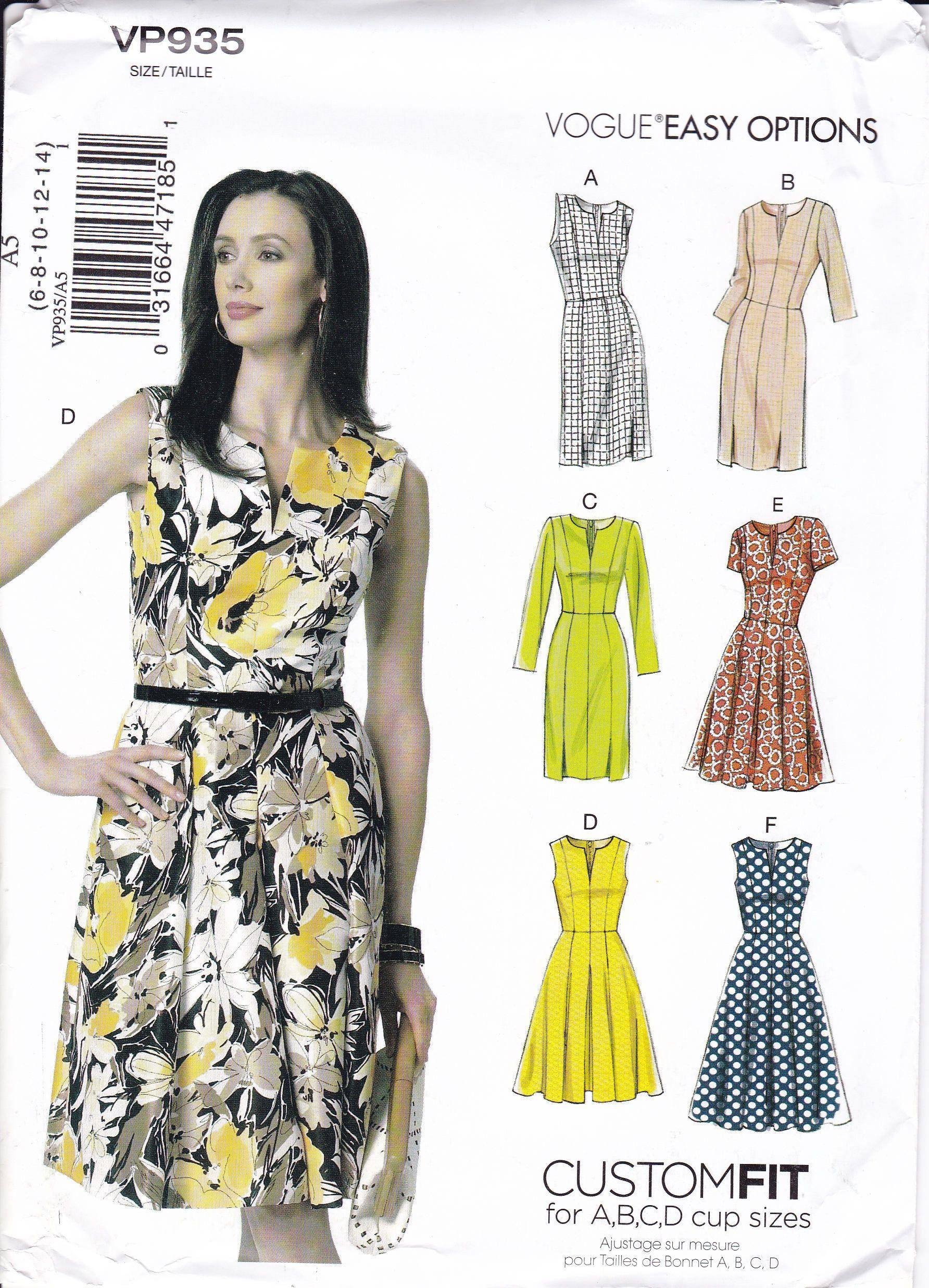 Free Us Ship Vogue 935 9167 Sewing Pattern Custom Fit Dress Size 6
