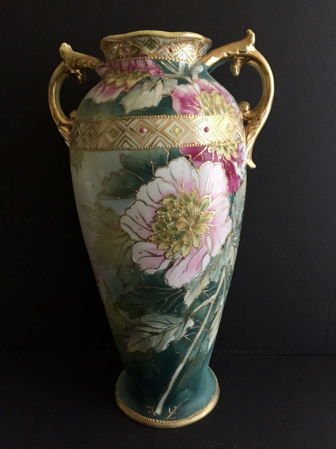 Antique nippon vase hand painted flowers with gold moriage accent antique nippon vase hand painted flowers with gold moriage accent reviewsmspy