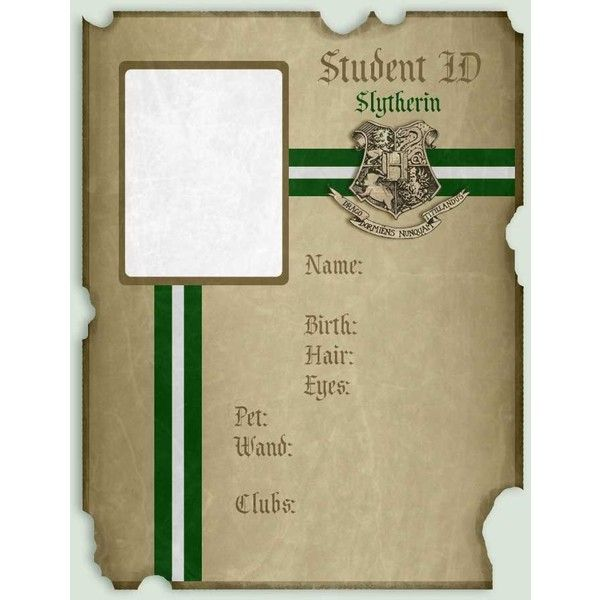 Slytherin ID Resources Pack by imacrazytrekkie ❤ liked on Polyvore featuring harry potter