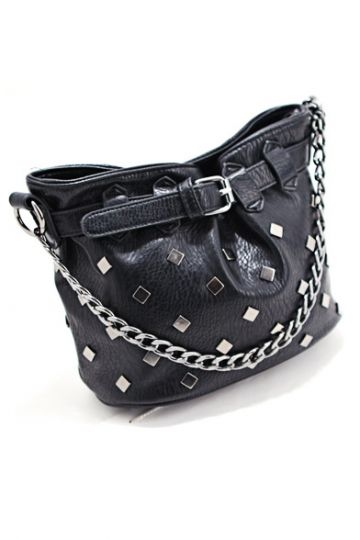 REGISTER ON PERSUNMALL.COM Retro Rivets Bucket Chain Bag in Black