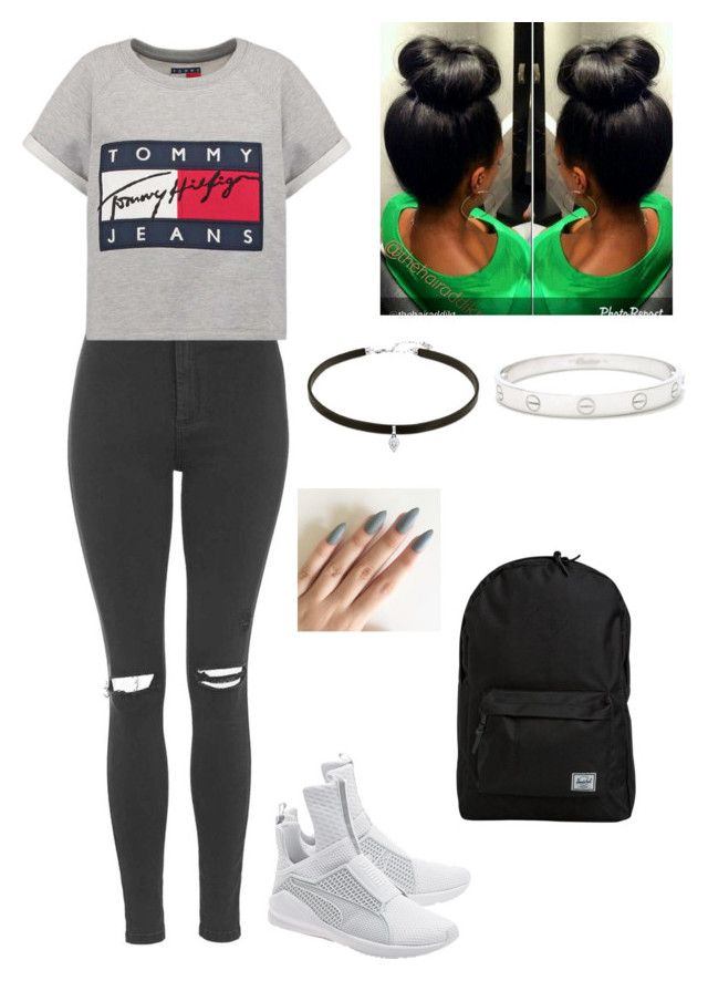 """""""5/7/16"""" by kittymiss060 ❤ liked on Polyvore featuring Topshop, Hilfiger, Puma, Cartier and Herschel"""