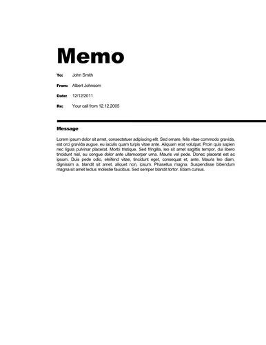 Free Business memo templates All templates are free to download - sample internal memo template