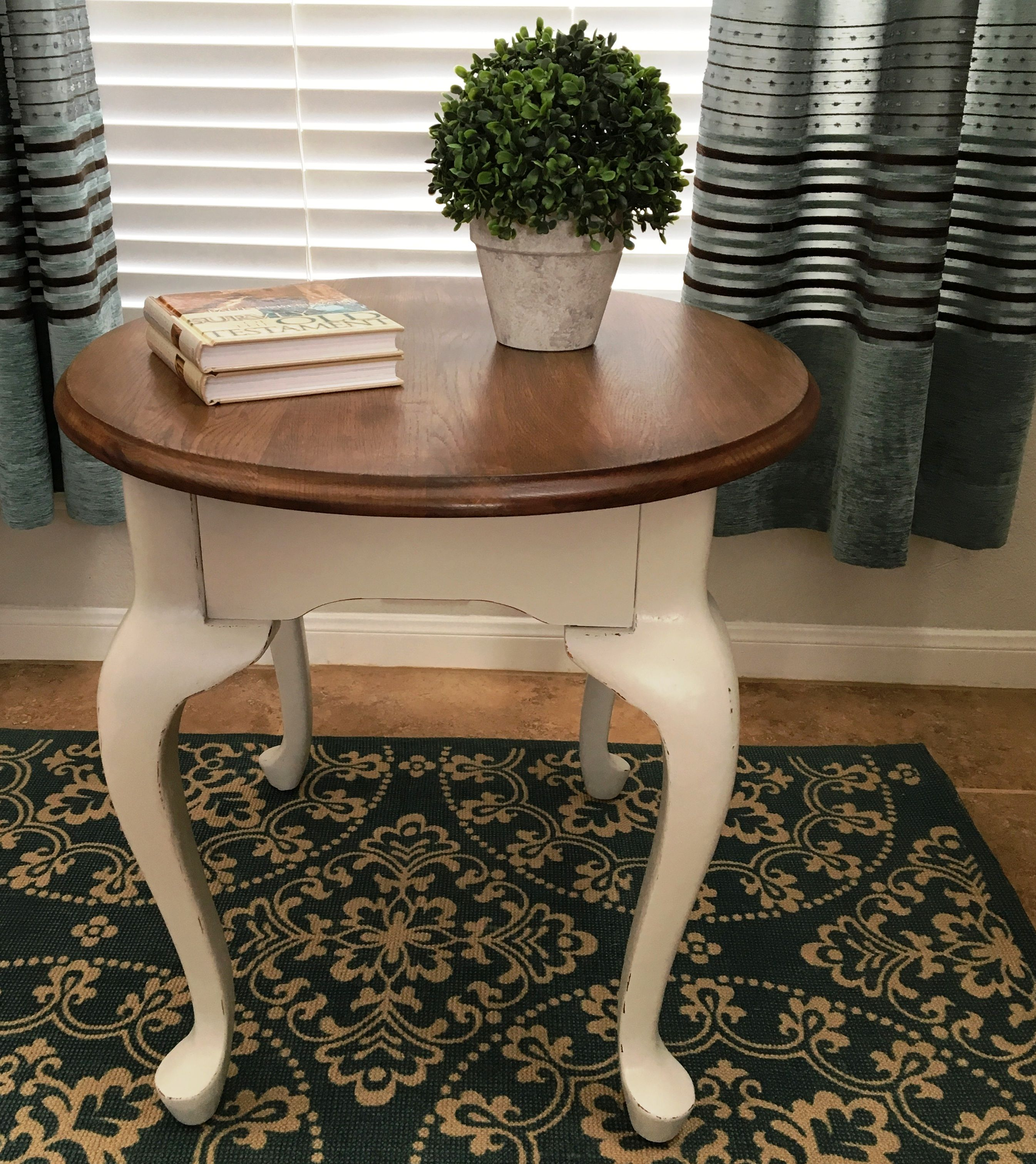 queen anne style end table painted in a tan and the top is stained american walnut