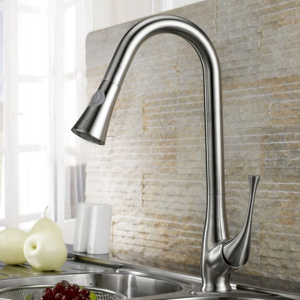Kitchen Faucets Ideas Free Ship Brushed Nickel Swivel Pull Out