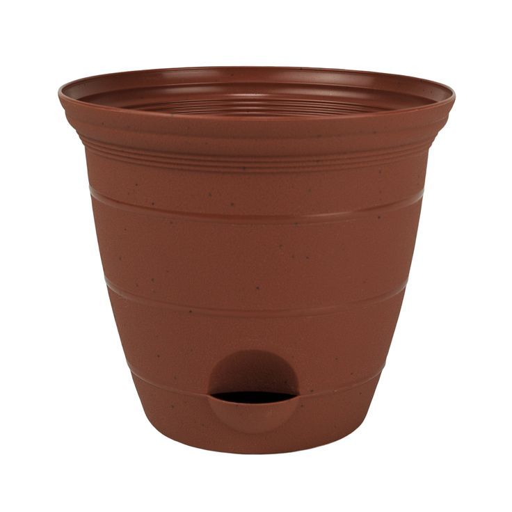 Misco 2 Pack 12 Inch Plastic Clay Color Self Watering Terra Flower Pot Or Garden Planter Flower Pots Self Watering Water Flowers