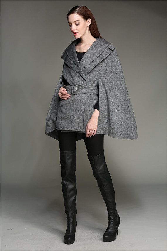 Pure Cashmere Coat Jacket In Gray, 100% Wool Cloak Cape, Gray Wool Coat, Wool Cloak Cape, Wool Poncho, Cashmere Poncho, Wool Jacket, Winter