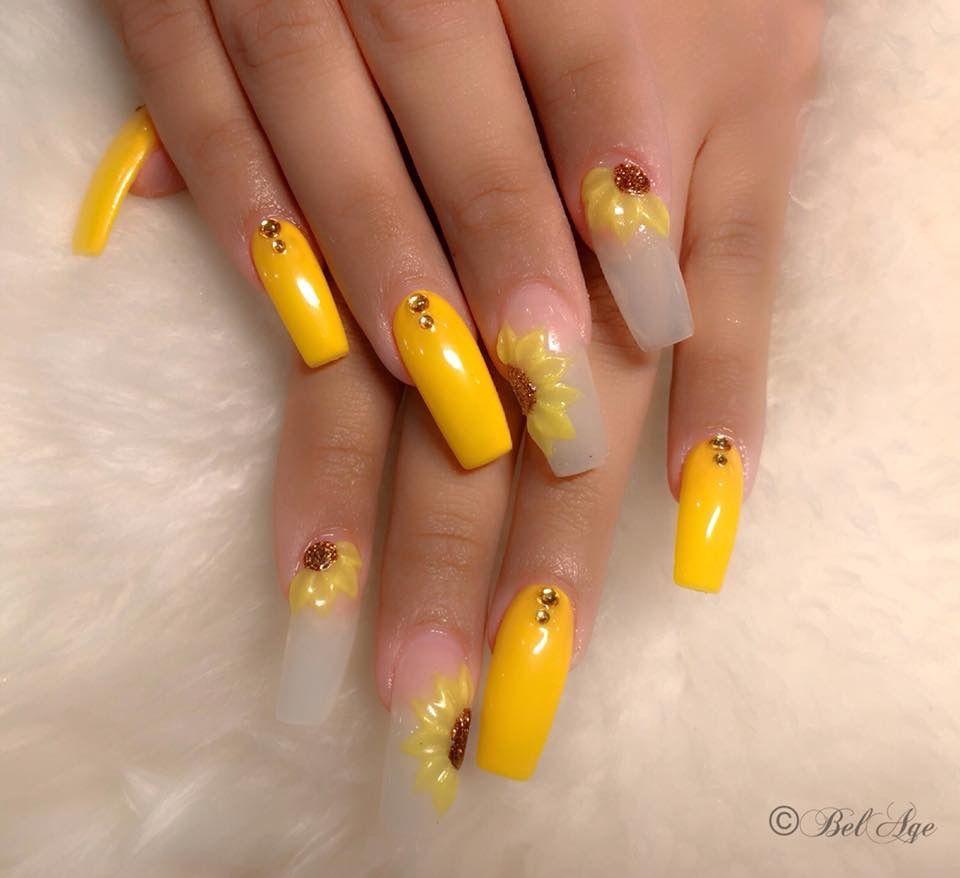 Sunflower nails, nail art, long nails, coffin nails