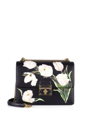 DOLCE   GABBANA Rosalia Small Tulip-Print Leather Chain Shoulder Bag.   dolcegabbana  bags  shoulder bags  lining  suede   29e00f2cd960d