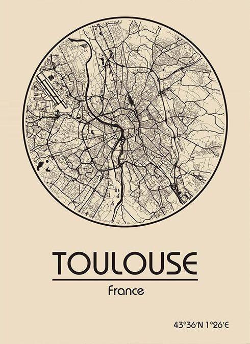Toulouse Karte.Karte Map Toulouse Frankreich France Frankreich Land