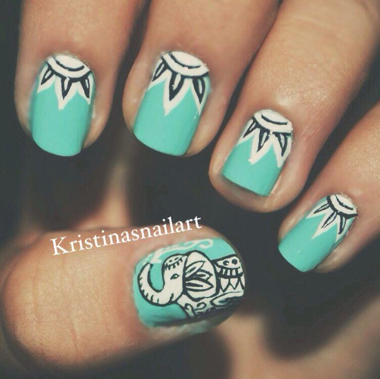 More elephant nails, tribal elephant | Beauty | Pinterest | Diseños ...