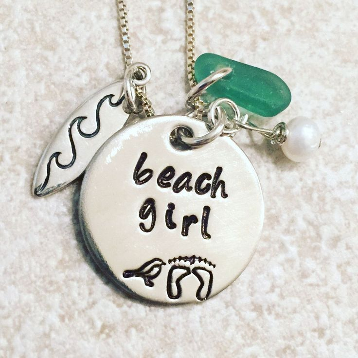 Surfer Girl, Surf Board Halskette, Sea Glass Halskette, Beach Girl, Sea Chain, Surfer Girl, Nataashaloha   - Surfer Girl Fashion -