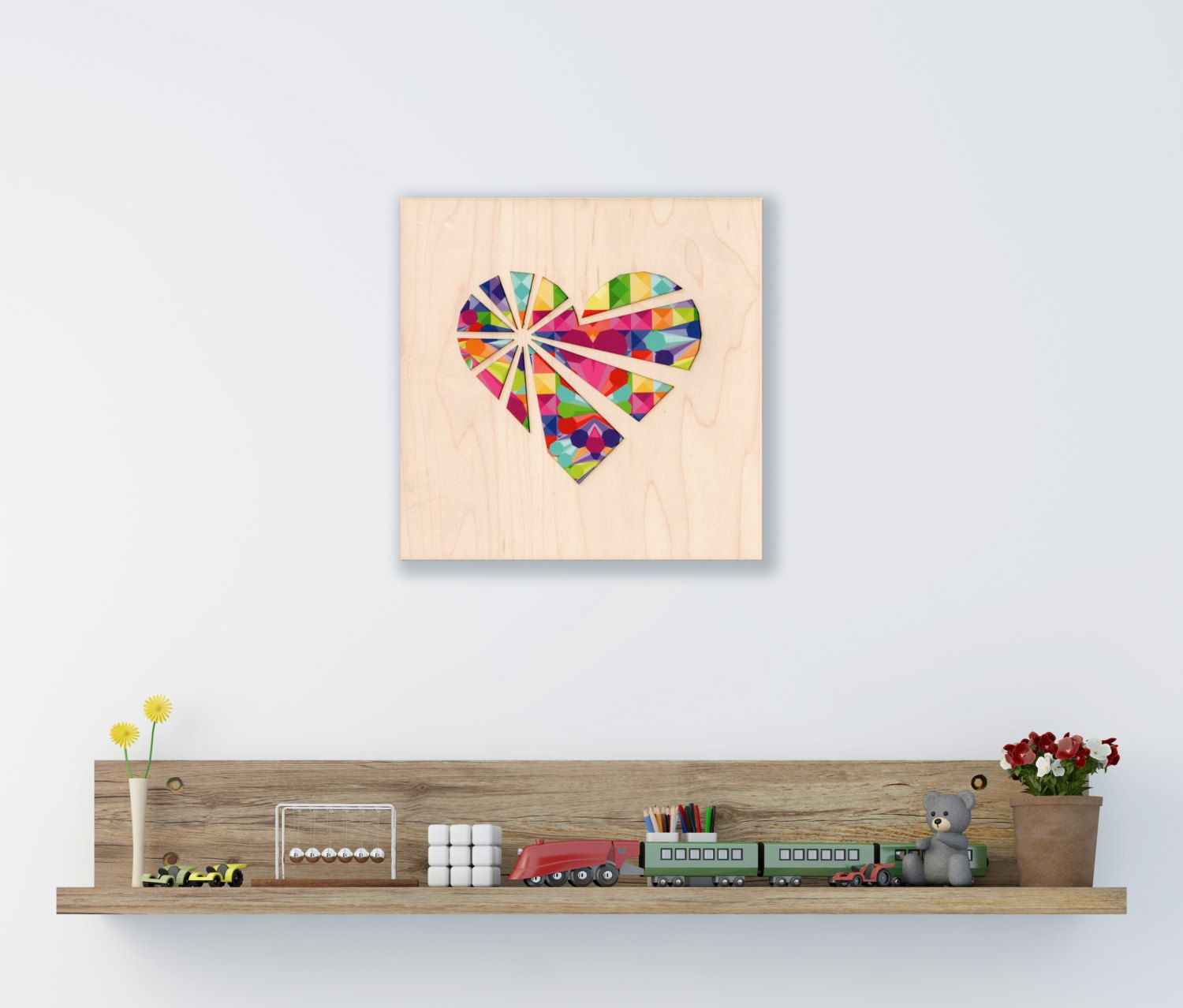 Girls Room Decor, Contemporary Art, Kids Room Wall Art, Heart Wall Décor, New Home Gift, Unique Present, Indoor Décor, Abstract Artwork by MardeFe on Etsy