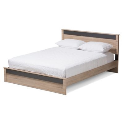 Baxton Studio Jamie Queen Wood Platform Bed In Oak Grey Brown Grey