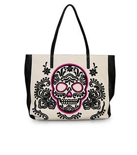 Loungefly Black Pink Sugar Skull Tote