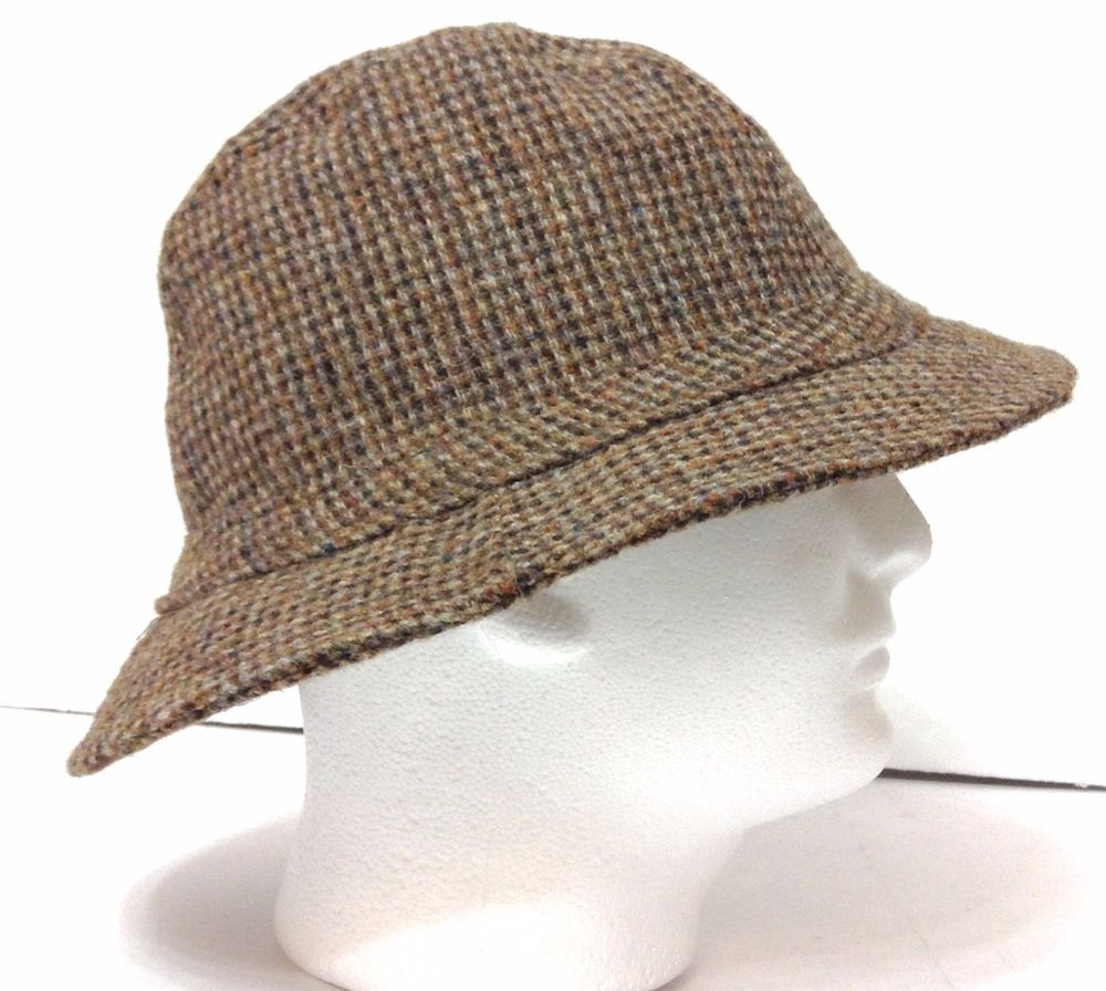 1a4ff44aee0b2 vtg ORVIS GORE-TEX BUCKET HAT Brown Harris Tweed Wool Mens Lrg (7-1 ...