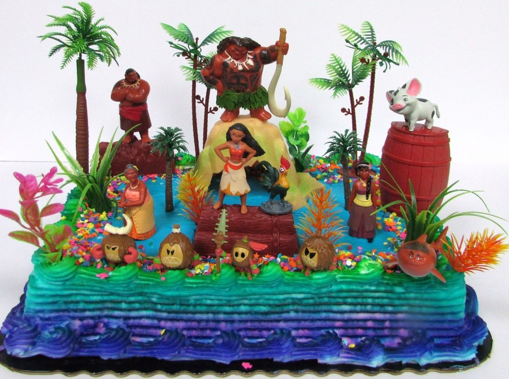 MOANA 25 Piece Birthday Cake Topper Set with Moana, Maui ...