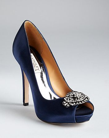 Charmant Royal Blue Tho Badgley Mischka Pumps Goodie Peep Toe In Blue (navy Satin)