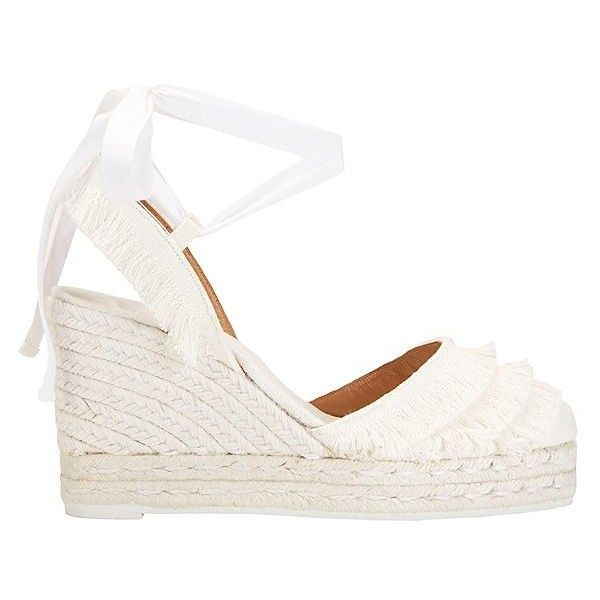 Castaner Tiered Fringe Espadrille Wedge: White: Tiered fringe detailing at  the rounded toe and back heel strap. Self ties wrap around.
