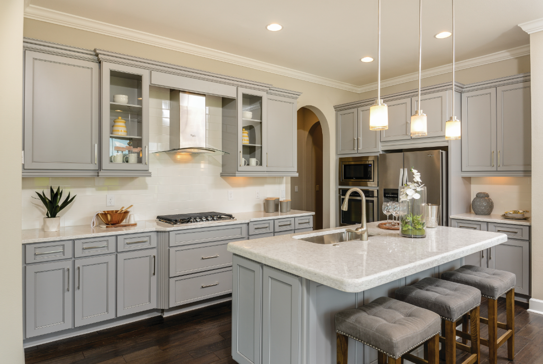Sleek Gray Kitchen Featuring Echelon Cabinets Kitchen Cabinets Kitchen Cabinet Colors New Homes For Sale New Homes