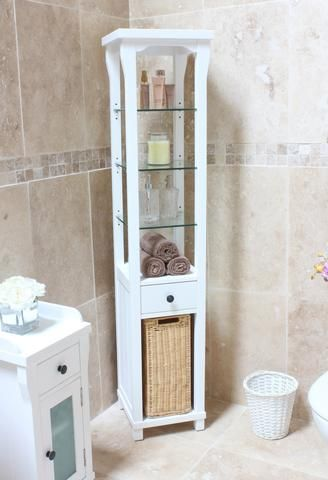Hampton Tall Bathroom Cabinet And Laundry Bin  Hampton White Endearing Bathroom Design Norwich Inspiration Design