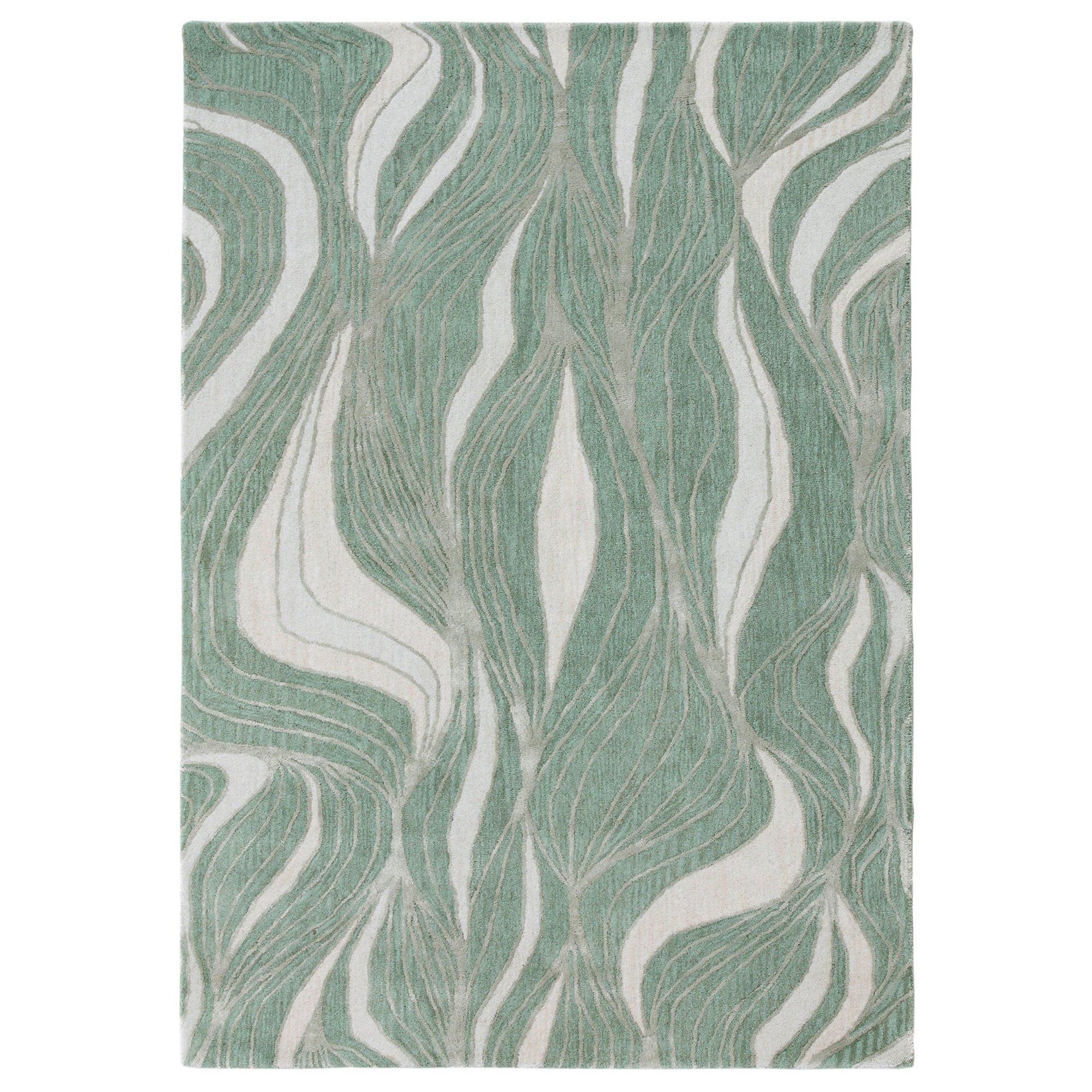 Watercourse Rug 5 X 8 Blue Wool Abstract Green Area Rugs Area Rugs Liora Manne