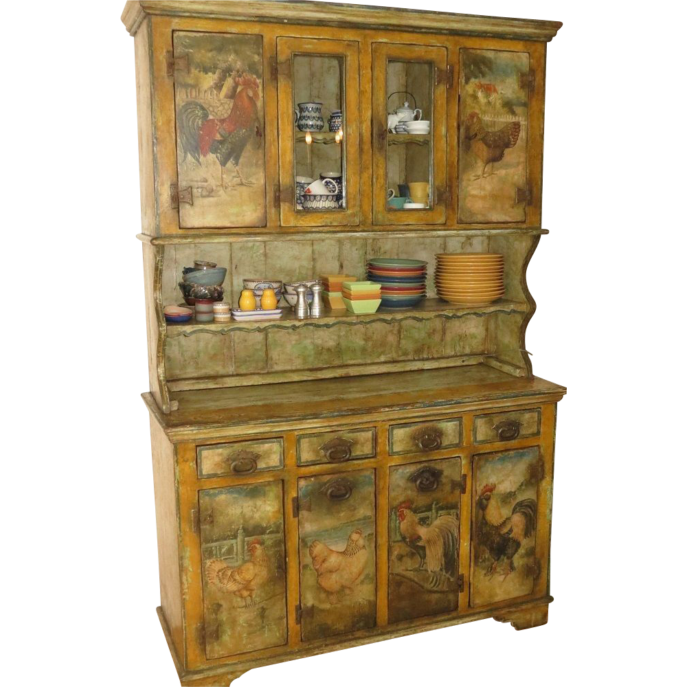 Antique French Country Cupboard W Hand Painted Roosters Chickens Found On Rubylane Com Antique French Country French Country Furniture Country Rooster Decor