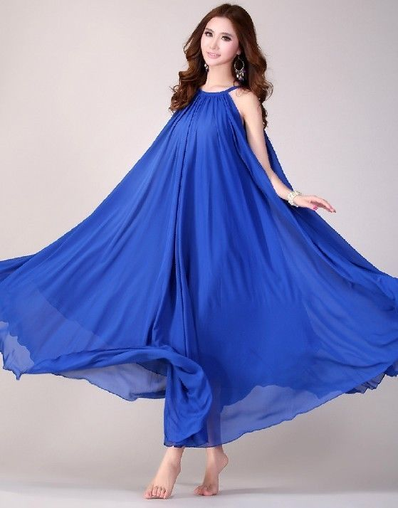 Boho Maternity Maxi Dress Baby Shower Dress Royal Blue Formal