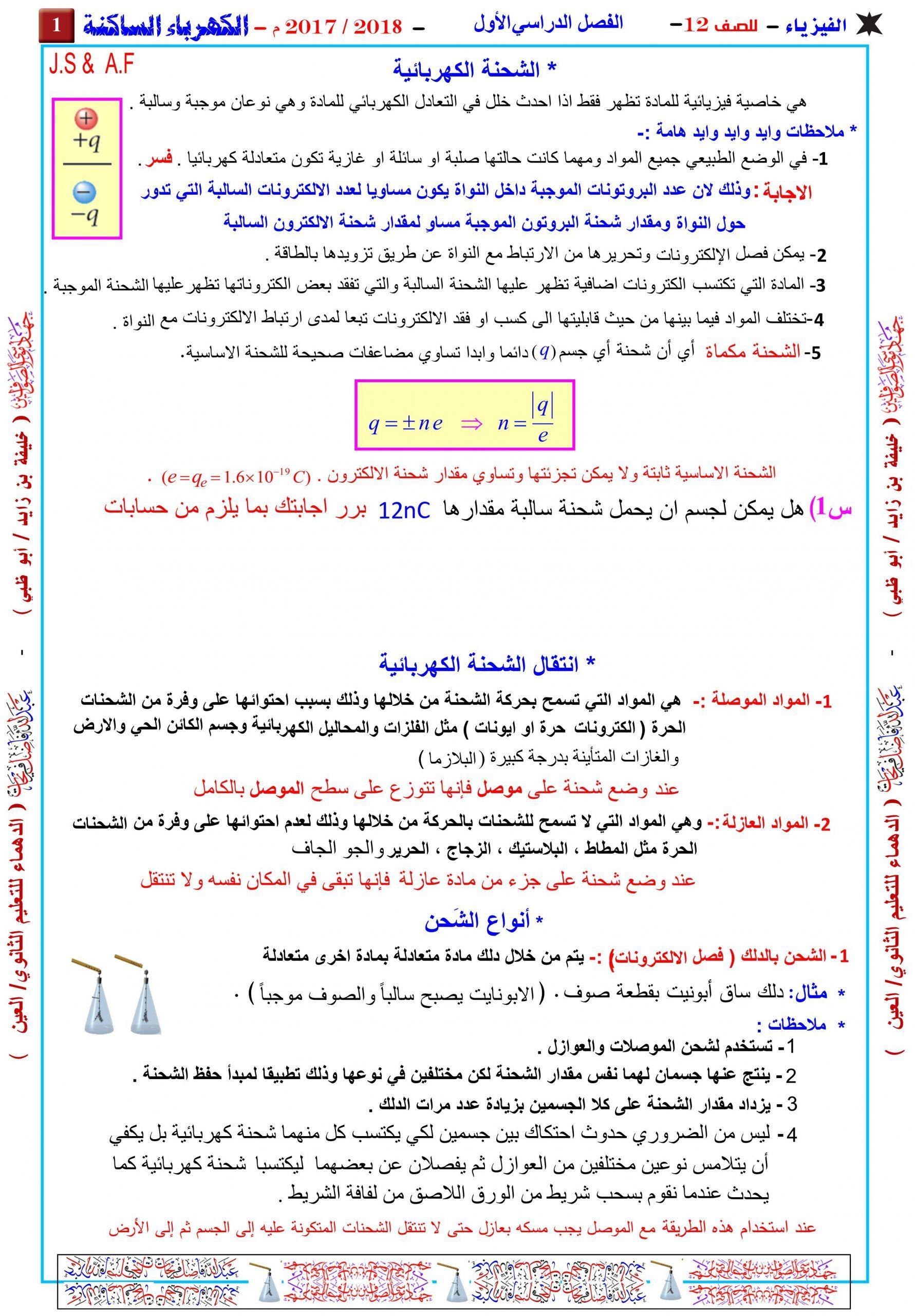 ملخص واوراق عمل الكهرباء الساكنة للصف الثاني عشر مادة الفيزياء