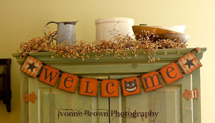 primitive fall banner welcome banner garland halloween signs photo