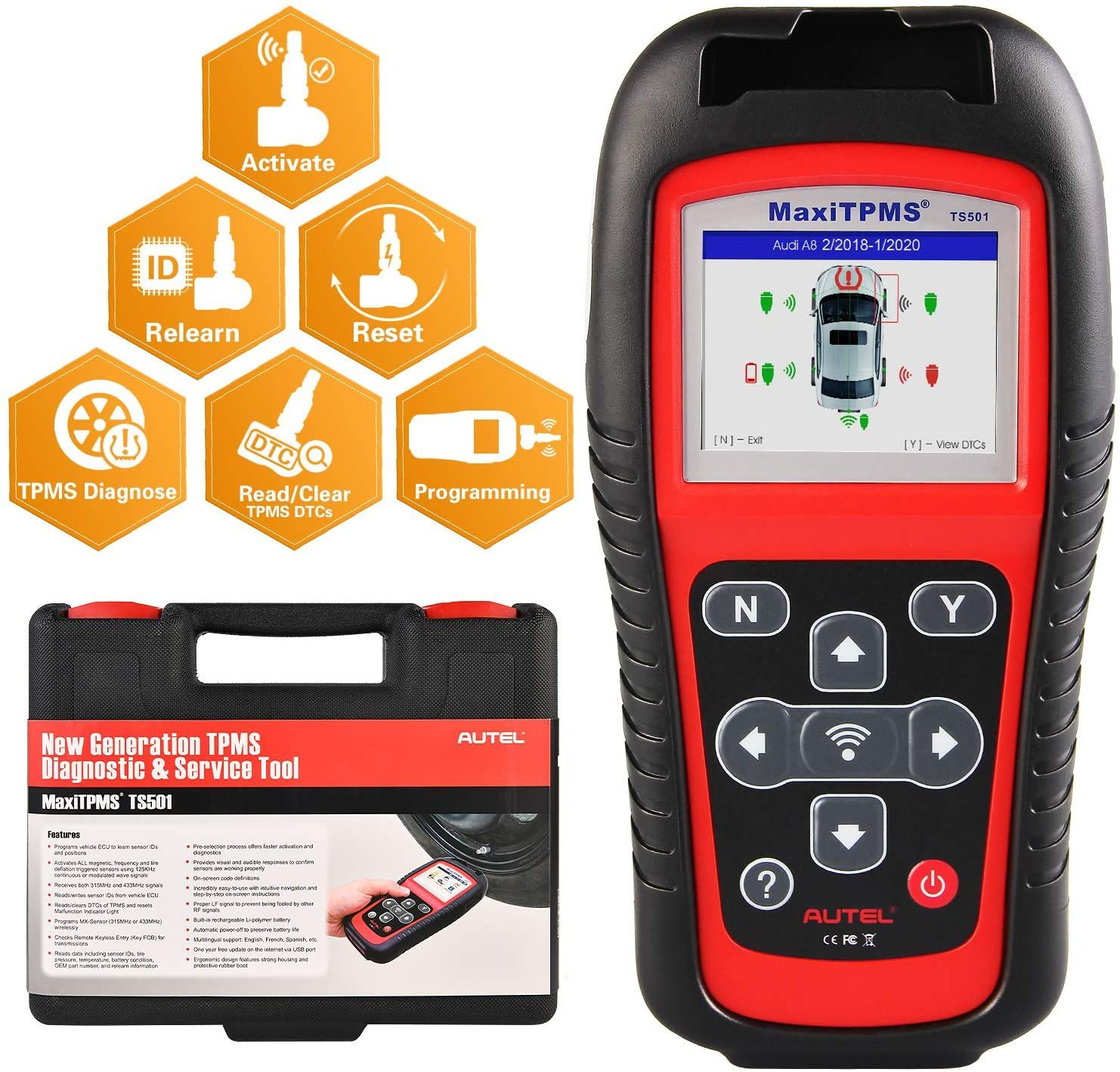 Autel Maxitpms Ts501 Tpms Relearn Tool Obd2 Scanner Upgraded Version Of Ts408 With Program Mx S Obd2 Scanner Obd2 Obd