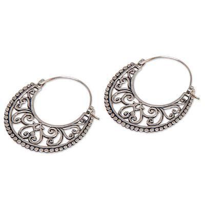 Sterling silver hoop earrings, 'Moonlit Garden' - Balinese Style Sterling Silver Crescent Hoop Earrings (image 2b)