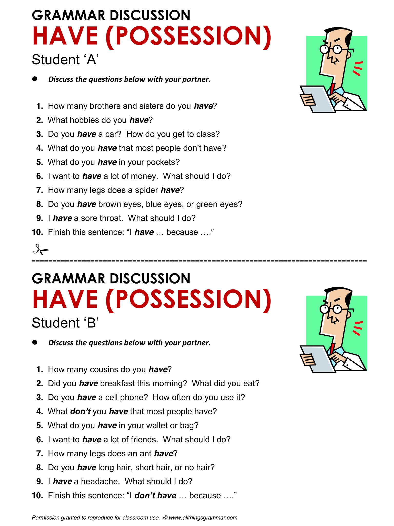 English Grammar Have Possession Lthingsgrammar