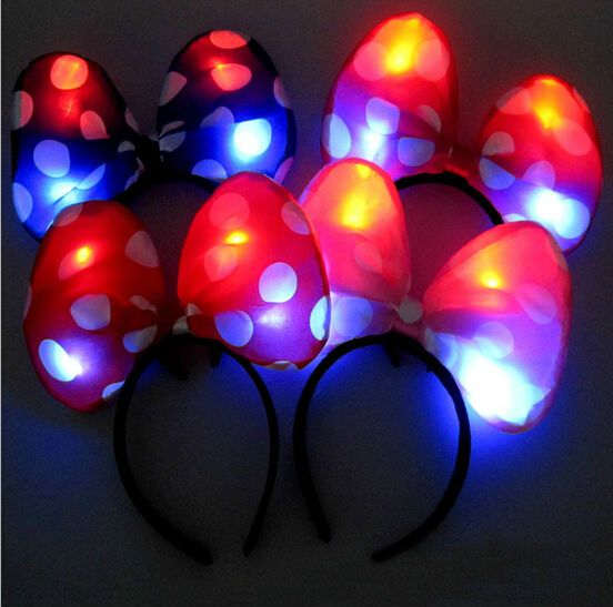 LED Flash Light Emitting Bow Hairpin Headbands,Christmas Party Dance
