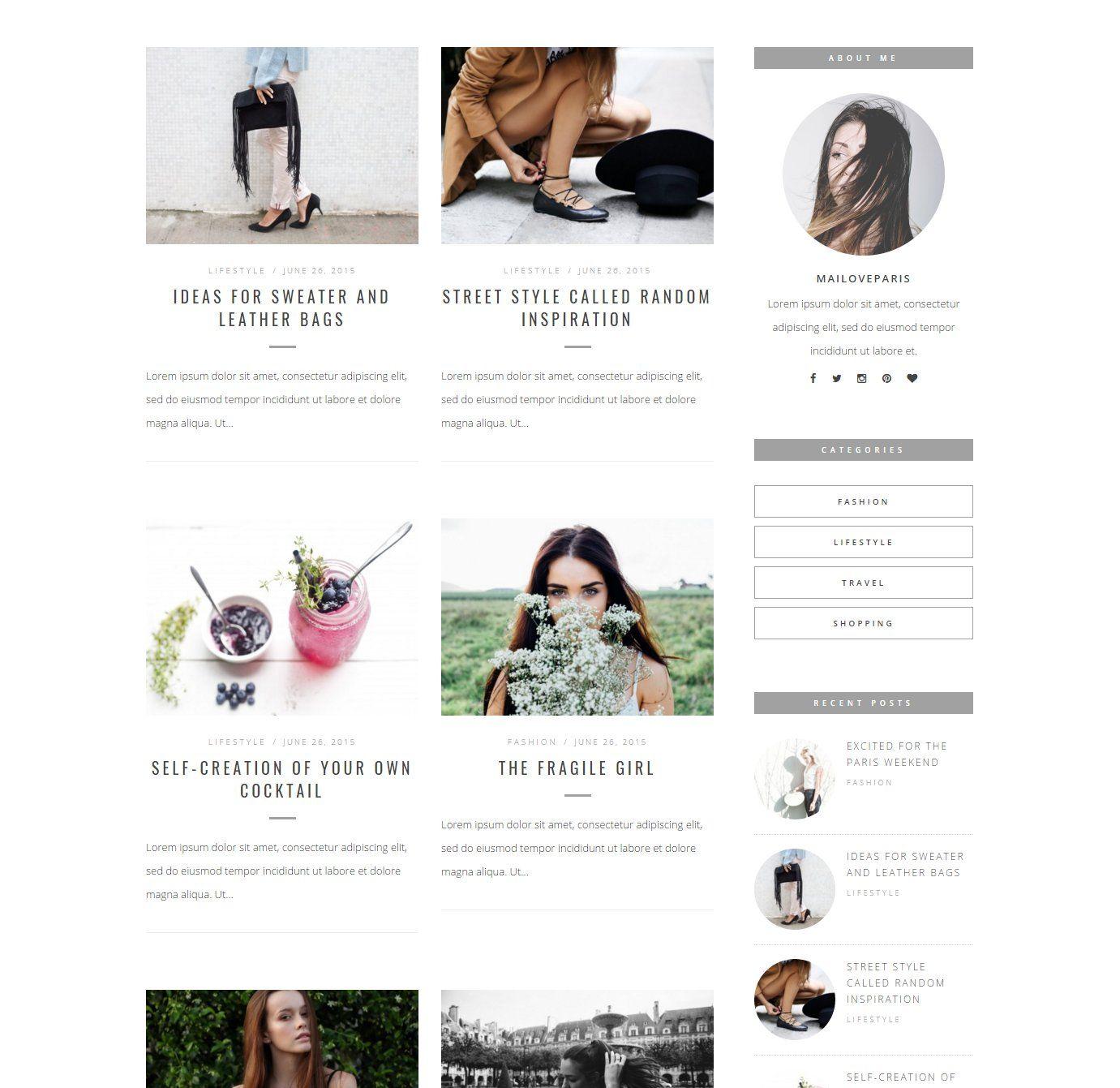 Chloe & Marc Wordpress blog theme by MaiLoveParis on