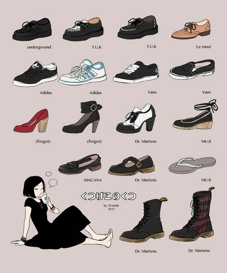 Drawing Shoe Reference underground T.U.K Adidas Vans Macana Le Must  Dr.Martens Muji