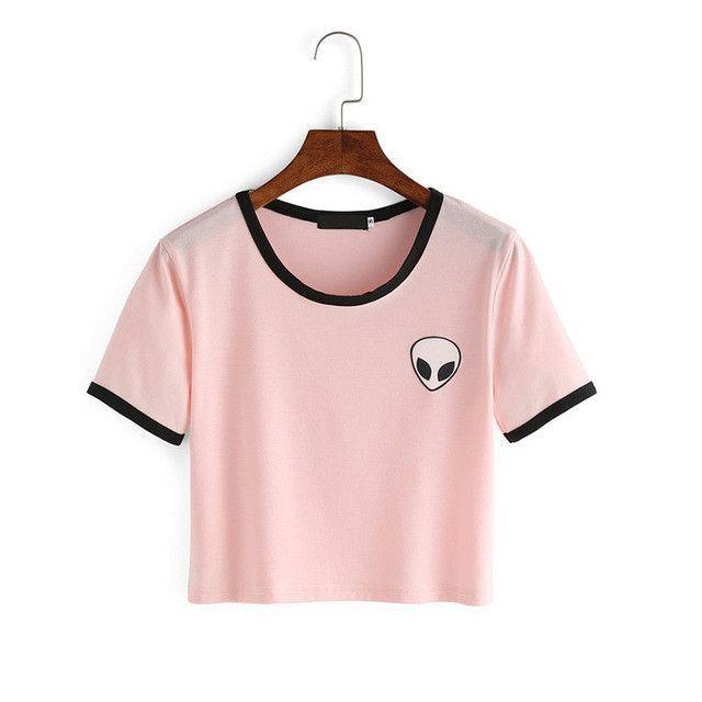 002018a976e Fashion Summer Kawaii Design Print Aliens T Shirts Women Short Sleeve Tops  Tees Comfortable Female Pink T-shirts Ukraine