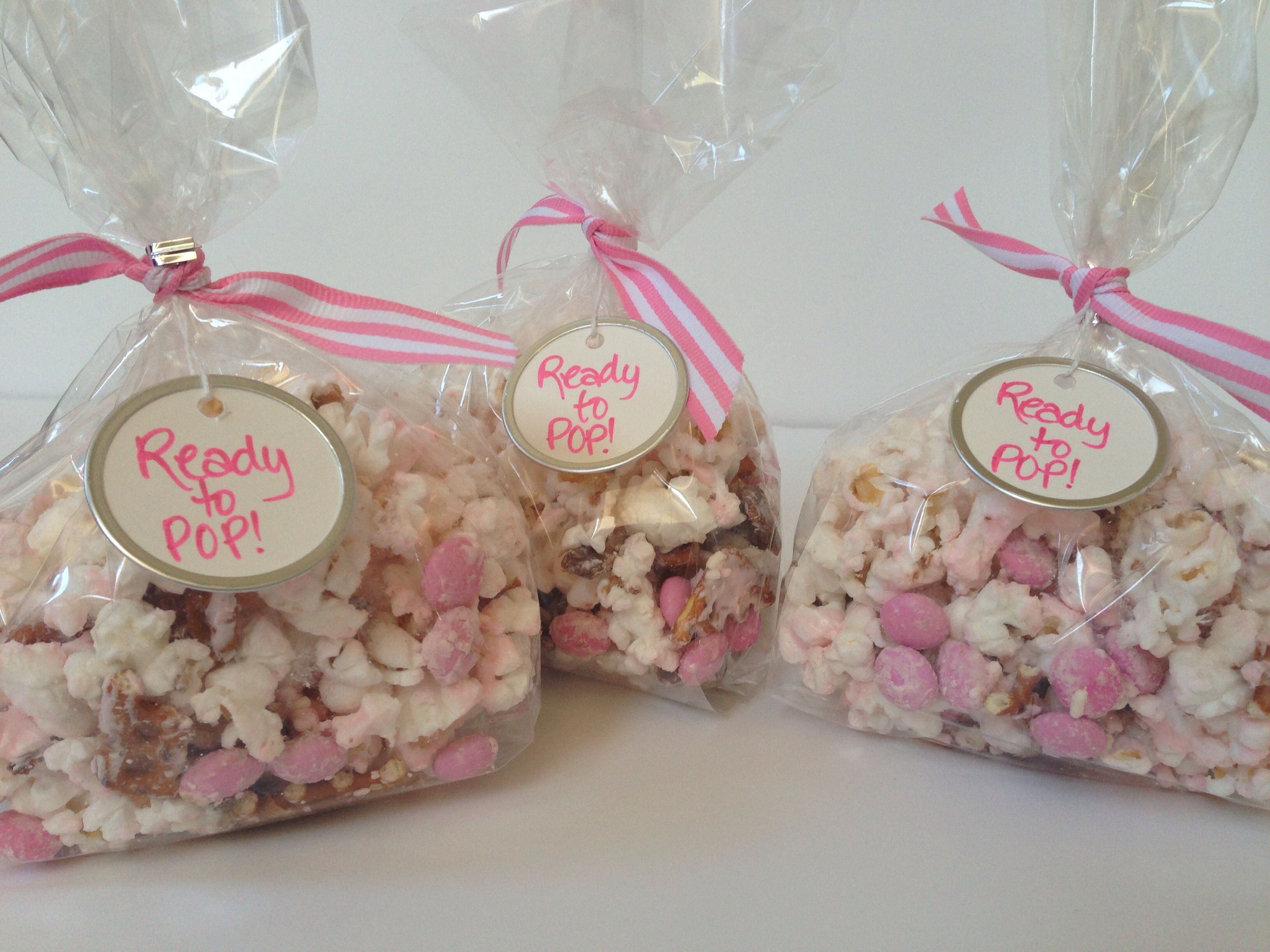 Ready to pop popcorn favor bags baby shower popcorn bags baby