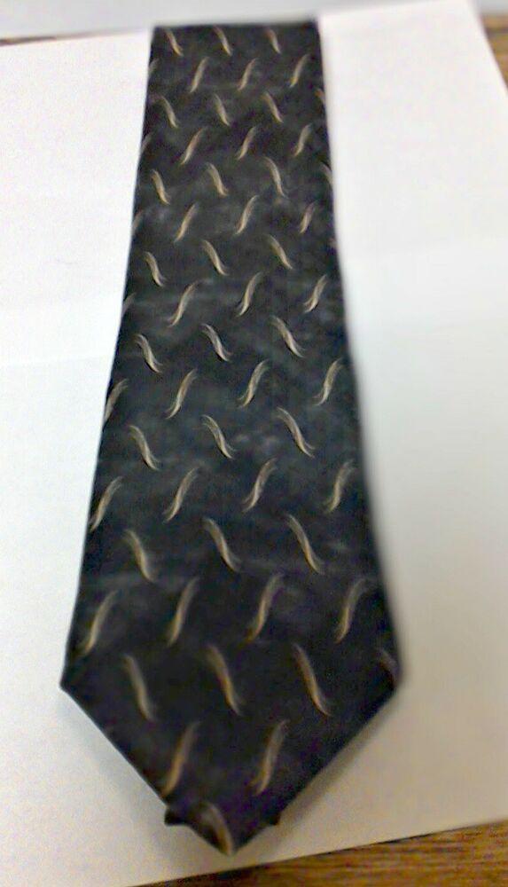 bill blass black label 100  silk necktie black tie with