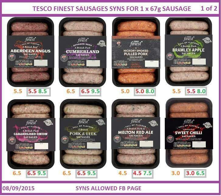 Tesco Finest Sausages Tesco Sausages Slimming World