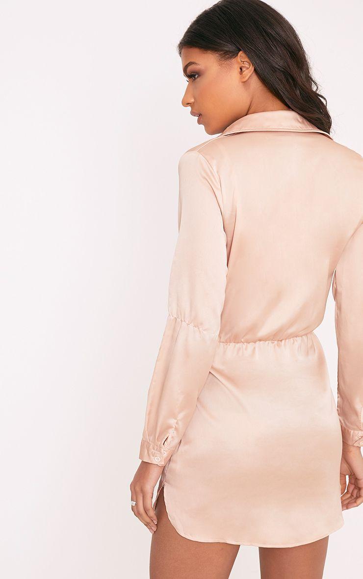 e2deac98b12 Katalea Champagne Twist Front Silky Shirt Dress in 2019