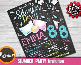 slumber party invitation sleepover birthday invitation pajama
