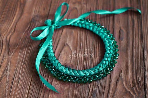 Photo of Braided Necklace, Green Boho Necklace, Crystal Beads Stateme…