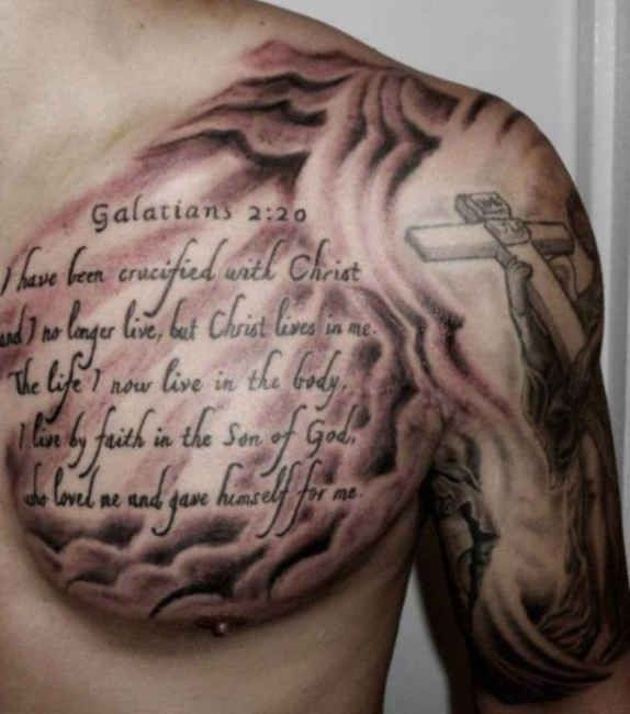 Font And Cross Chest Arm Tattoo